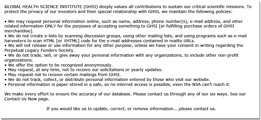 Donor Privacy Policy for Global Health.