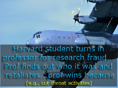Harvard Professor retaliates against student because student tell Harvard Professor is tampering with data.