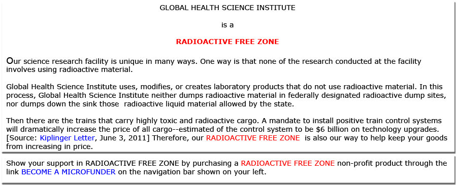 RADIOACTIVE FREE ZONE for Global Health.